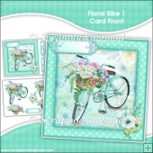Floral Bike 1 Decoupage Card Front