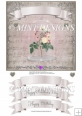 ENCHANTED WHITE & PINK ROSES quick card topper with banners