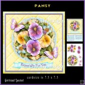 Lace Flowers Butterlies Pansy topper 904