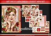 Art Deco Lady Emilia 4 Sheet Mini Kit Red