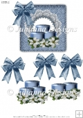Blue Christmas Candles Decoupage