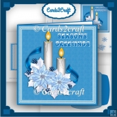 Blue poinsettia and candles card set