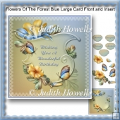Flowers Of The Forest Blue Large Card Front And Insert