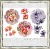 Variety of floral toppers with decoupage