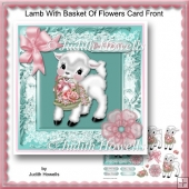 Lamb With Basket Of Flowers Card Front