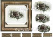 Oldtimer car 7x7 card
