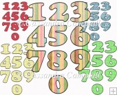 5 patterned number sets 0-9 set 1