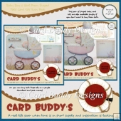 Baby Boy & Girl Pram Shaped Fold Card Kits Twin Pack