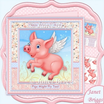 PIGS MIGHT FLY 8x8 Female Humorous Decoupage Mini Kit