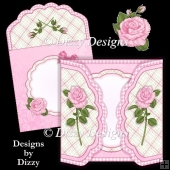 Pink Rose Scalloped Gatefold Card