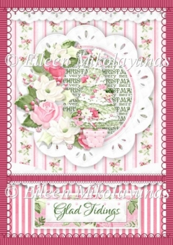 Cottage Chic Glad Tidings Roses Border Backing Background Paper