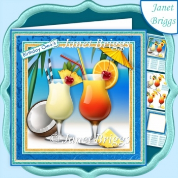 COCKTAIL CHEERS 7.5 Decoupage & Insert Kit All Occasions
