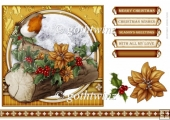 Christmas Robin 7x7 Gold With Matching Insert