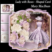 Lady with Roses - Shaped Card