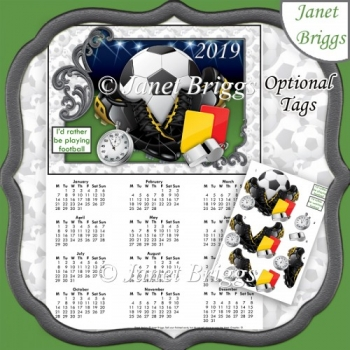 FOOTBALL 2019 A4 UK Calendar with Decoupage Mini Kit