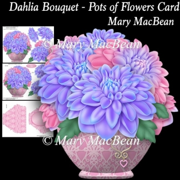 Dahlia Bouquet - Pots of Flowers Card