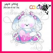 Sitting girl heart bunny paper piecing
