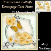Primroses and Butterfly Decoupage Card Front