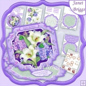 LILIES & HYDRANGEA Large Easel Card Kit & Decoupage 7.5