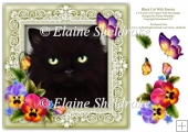 Black Cat Pansies Butterfly 8 x 8 Card Topper With Decoupage