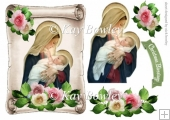 Mary holding baby Jesus on a scroll with roses A5