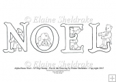 Noel - A5 Alpha bears Digi Stamp