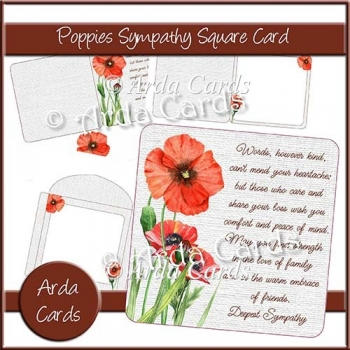 Poppies Sympathy Square Card