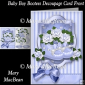 Baby Boy Bootees Decoupage Card Front