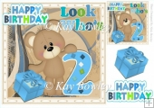Birthday Bear Blue AGE TWO with present 8x8