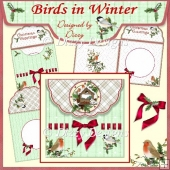 Birds in Winter - Fold Over Flap Envy Card