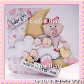 Over The Moon Baby Girl Card Kit Caucasian and Ethnic Baby