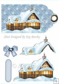pretty cottage in the snow on a tag with bow