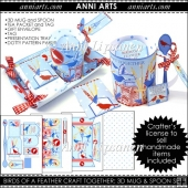 Vintage Crafty Birdies 3D Mug Gift Set