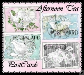 Afternoon Tea Cottage Chic Watercolor Postcard Set for Toppers