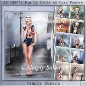 10 1950`s Pin Up Girls A5 Card Fronts