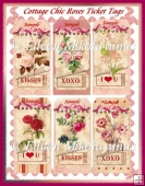 Cottage Chic Roses Valentine Ticket Tag Set