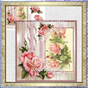 Special rose card with decoupage