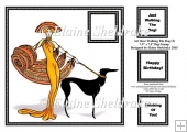 "Art Deco Walking The Dog (2) - 7.5"" x 7.5"" Card Topper"