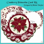 Cranberry Poinsettia Shaped Over The Top Card with Decoupage