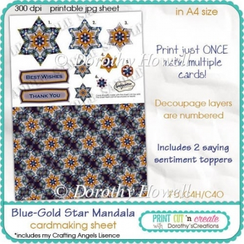 Blue-Gold Star Mandala Sheet