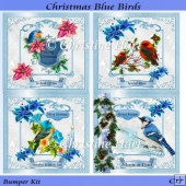 Christmas Blue Birds Bumper Kit CU