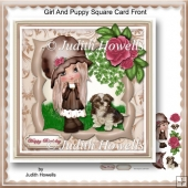 Girl And Puppy Square Card Front