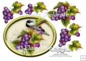 Bird & Grapes - 7 x 5 Oval Decoupage Card Topper