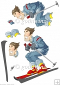 Skier Dude Blue Decoupage Sheet