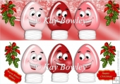 Red festive light bulbs with toony faces and holly DL