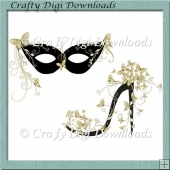 Gold Butterfly Mask And Shoe