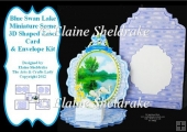 Blue Swan Lake - 3D Easel Card & Matching Envelope