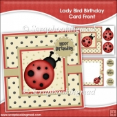 Lady Bird Birthday Card Front & Insert Panel Kit