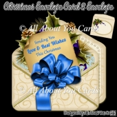 Blue Christmas Envelope Card & Envelope