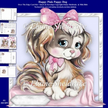 Happy Cute Pink Puppy Dog 8 x 8 Over The Edge Card Kit